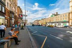 Tverskayastraat (hoofdstraat) van Moskou Royalty-vrije Stock Foto's