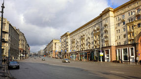 Tverskayastraat in Moskou Stock Fotografie