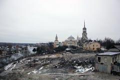 Tvertsa的Torzhok, Ru Borisoglebski修道院 库存照片