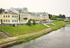 Tvertsa Embankment in Torzhok. Russia Stock Photo