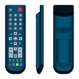 TVfjärrkontroll i mörker - blå framdel-, sido- och baksidasikt på vit bakgrund royaltyfri illustrationer