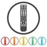 TVfjärrkontrollsymbol, 6 inklusive färger Arkivfoton