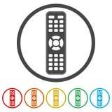 TVfjärrkontrollsymbol, 6 inklusive färger Royaltyfria Foton
