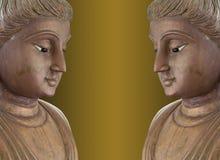Tvilling- buddha statyer. Arkivbild