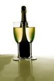 tvilling- champagne Arkivfoto