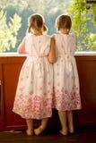 Tvilling- flickor på farstubron i sommarklänningar Arkivbild