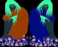 Tvilling- girs i mörkret Arkivbild