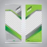 Tvilling- grönt rullar upp mallen för banerställningsdesignen vektor illustrationer