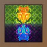 Tvilling- guld- och blå drake vektor illustrationer