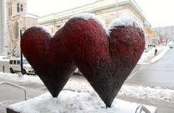 Tvilling- hjärtor i vinter Fotografering för Bildbyråer