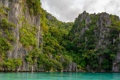 Tvilling- lagun, Coron ö Palawan - Filippinerna Arkivfoto