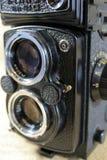 Tvilling- Lens för tappning kamera Arkivbild