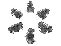Tvilling- motorillustrationer Royaltyfri Bild