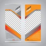 Tvilling- orange rullar upp mallen för banerställningsdesignen royaltyfri illustrationer