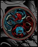 Tvilling- orm, orm som ying teckningen för yang vektorhand stock illustrationer