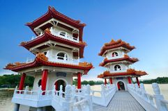 tvilling- pagoda Royaltyfri Bild