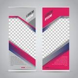 Tvilling- rosa färger rullar upp mallen för banerställningsdesignen vektor illustrationer