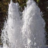 Tvilling- strålar av vatten som svaller uppåt i en springbrunn royaltyfria foton