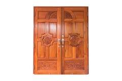 Tvilling- wood dörr Arkivfoto