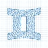 Tvillingarna 21 Maj - 20 Juni HOROSKOPSTJÄRNTECKEN - Ballpen blått klottrar på en rutig pappers- bakgrund vektor illustrationer