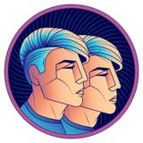 Tvillingarnazodiaktecknet, den stilfulla moderna frisyren bjöd under stock illustrationer