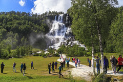 Tvindefossen瀑布,挪威 库存图片