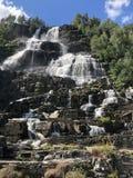 Tvindefossen瀑布,挪威 库存照片