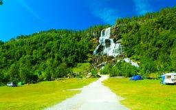 Tvindefossen waterfall near Voss, Norway Stock Images