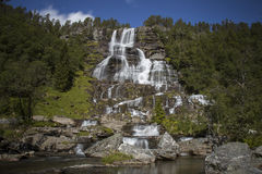 Tvindefossen Waterfall. In western Norway. July, 2014. Photo was made using 10-stop (Big Stopper) Lee filter Royalty Free Stock Photos