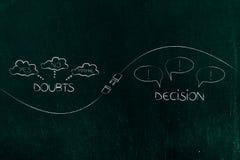 Tvivlar, och beslut med pluggar in - dem emellan att förbinda dem vektor illustrationer