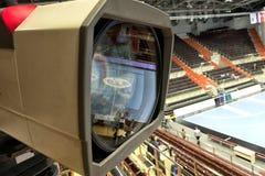 TVkamera för TV-sändninghandboll Royaltyfri Bild
