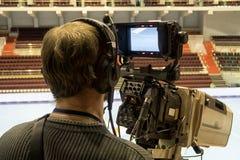 TVkamera för TV-sändninghandboll Arkivfoto