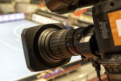 TVkamera för TV-sändninghandboll Arkivfoton