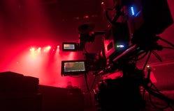Tvkamera i en konserthall Fotografering för Bildbyråer
