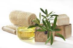 tvål för badoljeolivgrön Arkivfoton