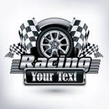 Tävlings- emblem på vit & text Arkivfoto