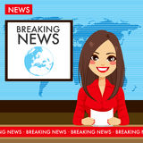 Tvnyhetsuppläsare för ung kvinna Royaltyfria Foton