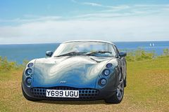 Tvr tuscan sportscar. Photo of a high powered luxury tvr tuscan sportscar on display at whitstable outdoor car show during 2018 Royalty Free Stock Photos