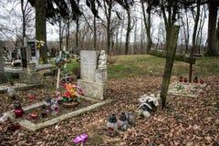 TVRDOMESTICE, ESLOVÁQUIA - 12 3 2016: Sepulturas, lápides e crucifixos no cemitério tradicional Velas votivas da lanterna e as fl Foto de Stock Royalty Free