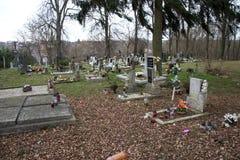 TVRDOMESTICE SLOVAKIEN - 12 3 2016: Gravar, gravstenar och kors på traditionell kyrkogård Votive stearinljus lykta och blommor Royaltyfria Bilder
