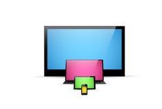 TVskärm, anteckningsbok, minnestavla, smartphoneillustration Royaltyfria Foton