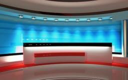 TVstudio Nyheternastudio, studiouppsättning royaltyfri fotografi