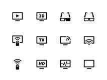 TVsymboler på vit bakgrund Royaltyfri Fotografi