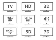 TVsymbolsuppsättning Arkivfoto