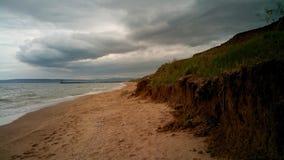 Tvättad livlös kust av Blacket Sea, Krim, nära Koktebel Fotografering för Bildbyråer