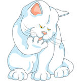 Tvättar sig den gulliga vita katten för vektorn, att slicka som är hans, tafsar Arkivbild