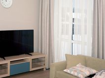 TVuppsättning och soffa arkivfoto