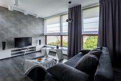 Tvvardagsrum med soffan royaltyfri fotografi