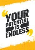 Twój potencjał Jest Niekończący się Inspirować Kreatywnie motywaci wycena plakata szablon Wektorowy typografia sztandaru projekta royalty ilustracja