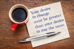 Twój pragnienie zmieniać - inspiracyjnych słowa obrazy royalty free